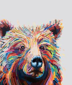 Colorful bear. What a beautiful piece of art. Love the colors and placement…