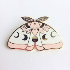 Pink MoonMoth Hard Enamel Lapel pin by NorthernSpells on Etsy