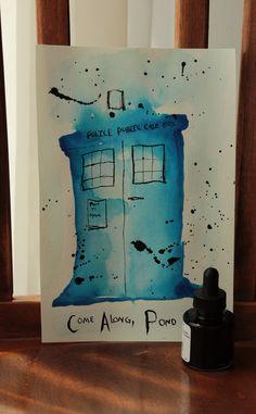 Original Come Along Pond Doctor Who TARDIS Illustration Drawing Painting
