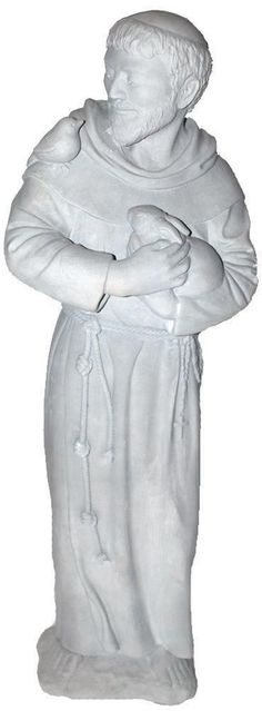 This is a beautiful garden statue of a truly inspiring man. Exhibiting extraordinary detail from his billowing robes, rope belt and rosary beads to the fingernails on his hands, this patron saint of animals is depicted gently caressing a bunny and lovingly smiling at the small bird on his shoulder. | eBay!