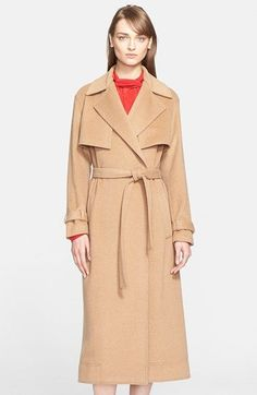 """Free shipping and returns on Jason Wu Camel Hair Trench Coat at Nordstrom.com. <p><B STYLE=""""COLOR:#990000"""">Pre-order this style from the Fall 2015 collection! Limited quantities. Ships as soon as available. You'll be charged only when your item ships.</b></P><br>The quintessential trench gets an indulgent upgrade in luscious camel hair and an elongated cut. Wear it draped open for oversized ease or belted to pull together a classic feminine silhouette."""