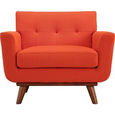 Steel | Lark Atomic Red Upholstered Engage Armchair ($499) ❤ liked on Polyvore featuring home, furniture, chairs, accent chairs, fillers, house, red accent chair, upholstery furniture, upholstered accent chairs and colored furniture
