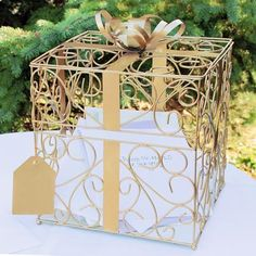 Gold 50th Anniversary Present Shaped Wedding Reception Gift Card Holder Box