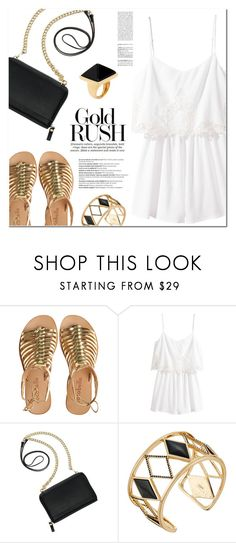 """""""Gold Rush"""" by christinacastro830 ❤ liked on Polyvore featuring Cocobelle, H&M, TravelSmith, Rebecca Minkoff, Kenneth Jay Lane, Balmain and goldsandals"""