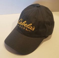 98f1131f CABELA'S CLUB Baseball Hat Cap Grey Yellow Embroidery ADJUSTABLE Sporting  Goods #Cabelas #BaseballCap Grey