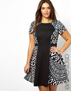 ASOS Curve | ASOS CURVE Exclusive Skater Dress With Mono Print Blocking at ASOS