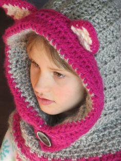 Silver/Pink Fox Hood, Baby, Toddler, Child, Teen, Adult, Crochet, Light Gray/Dark Gray Hood, Scoodie, Fox Hat, Hannahs Homestead2