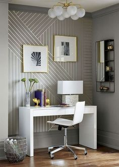 Luxury Office Design Ideas For a Remarkable Interior Deco Design, Wall Design, House Design, White Lacquer Desk, Diy Tapete, Diy Wallpaper, Office Wallpaper, Adhesive Wallpaper, Wallpaper Patterns
