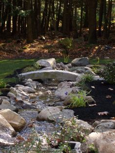 granite stone bridge Landscaping With Rocks, Backyard Landscaping, Landscaping Ideas, Landscape Design, Garden Design, Stone Farms, Dry Creek, Rock Creek, Outdoor Projects
