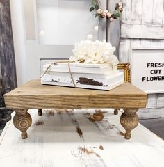 Excited to share this item from my #etsy shop: Large Farmhouse Riser - Farmhouse Pedestal Tray - Large Farmhouse Footed Tray