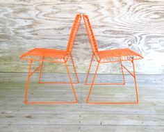 metal chairs / retro orange mesh chairs / wire by forthecommongood, $225.00