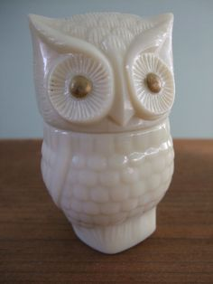 Vintage Milk Glass Owl Avon