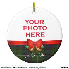 Alexander Scottish Tartan Christmas Photo Double-Sided Ceramic Round Christmas Ornament