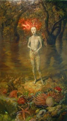 "Julie Heffernan  ""Self-Portrait On A Coral Bed""  2003  oil on canvas"