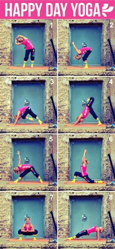 Oooh - I can do this. AND I even have yoga pants (so okay, they fall down now because they are too big - but I have some! LOL) Get your happy on with a daily dose of yoga. Researchers at Boston University found that doing yoga can improve your. Yoga Positionen, Yoga Moves, Yoga Meditation, Yoga Flow, Mode Yoga, Yoga Sequences, I Work Out, How To Do Yoga, Asana