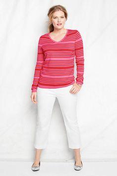 Women's Fine Gauge Supima Stripe V-neck Sweater from Lands' End