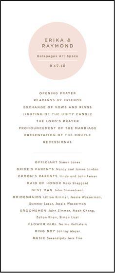 Letterpress Wedding Program panels | Polka Stripe Design | Bella Figura Letterpress