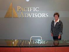 Interior Metal letters sign with Logo for Pacific Advisors Lobby in San Jose, Ca.  Custom Signs 408-605-3435 / clamkinman@comcast.net