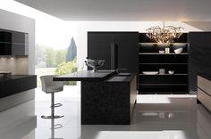 Schon Stone U0026 Black Matt Designer Kitchen In A Modern U0026 Uncluttered Slab Style.
