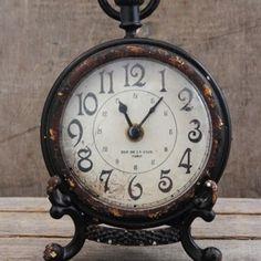 Antique Black Pewter Desk Clock