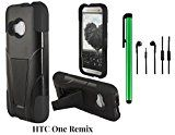 HTC One Remix Phone Case - Premium Heavy Duty Dual Shield Hybrid Protector Case with KickStand (2014 Released; US Carrier: Verizon) + 3.5MM Stereo Earphones + 1 of New Metal Stylus Touch Screen Pen (BLACK)