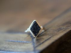 Diamond Druzy Ring Stacking Gemstone Ring in by SaressaDesigns