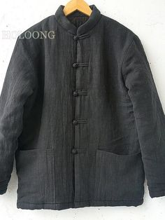 Tang coats Button Custom Loose Washed cotton Men Cotton-padded Coats