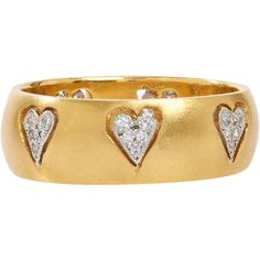 Cathy Waterman Floating Hearts Band ($4,830) ❤ liked on Polyvore featuring jewelry, rings, colorless, cutout ring, clear crystal ring, pave heart ring, pave band ring and band jewelry