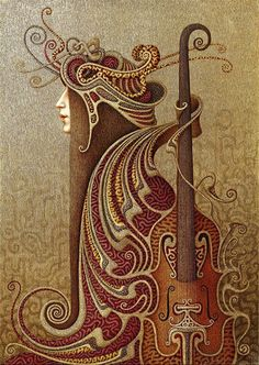 Art Nouveau-I haven't been able to find out anything about this piece or what the medium is.  Anyone?...