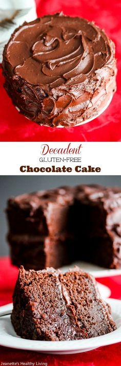 Decadent Gluten-Free Chocolate Cake - so chocolatey and rich, no one will guess it's gluten-free.perfect for the holiday dessert table Decadent Gluten-Free Chocolate Cake Recipe - Jeanette's Healthy Living Gluten Free Deserts, Gluten Free Sweets, Gluten Free Cakes, Foods With Gluten, Gluten Free Baking, Dairy Free Recipes, Dessert Sans Gluten, Bon Dessert, Dessert Food