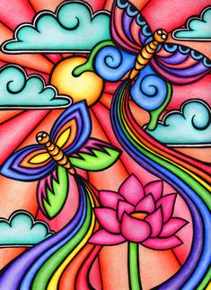 Butterflies - coloured by foiazzy on deviantart drawings in 2019 sanat fiki Deviantart Zeichnungen, Deviantart Drawings, Oil Pastel Drawings, Butterfly Drawing, Art Drawings For Kids, Whimsical Art, Fabric Painting, Doodle Art, Painted Rocks