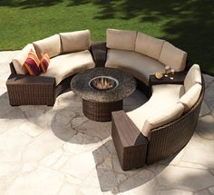 Hitting all the high notes of today's popular patio trends, the Contempo Curved Sectional Fire Pit set from Lloyd Flanders offers the look of wicker, ...