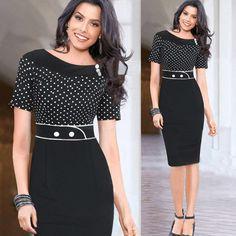>> Click to Buy << 2XL 2017 Women Summer Knee Length Work Dress Short Sleeve Vintage Dot Pencil Hip Dress Big Size Stitching Slim Dresses Vestidos #Affiliate