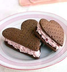 chocolate heart cookies with strawberry ice cream filling YUMM