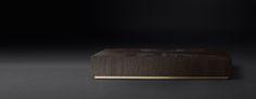 RH Modern's Machinto Rectangular Collection - Brown Oak & Burnished Brass