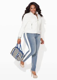 Plus size fashion jeans, jacket cute bag