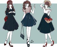Anime Girl Dress, Manga Girl, Anime Art Girl, Fashion Design Drawings, Fashion Sketches, Anime Outfits, Mode Outfits, Drawing Anime Clothes, Looks Cool