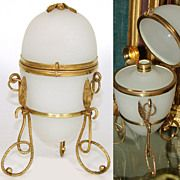 "Antique French Palais Royal White Opaline ""Egg"" Casket, Perfume Bottle"