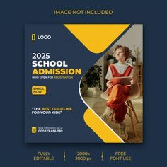 Social Media Poster, Social Media Banner, Social Media Template, Social Media Design, Creative Poster Design, Ads Creative, Education Templates, Education Banner, School Admissions