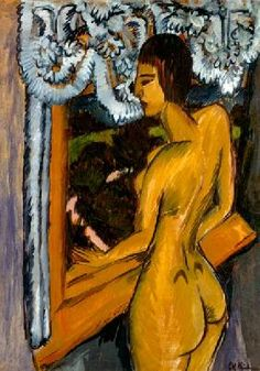 Brown Female Nude at the Window - Ernst Ludwig Kirchner hand-painted oil painting reproduction,Brauner Akt am Fenster,bedroom wall art decor Ernst Ludwig Kirchner, Henri Matisse, Figurative Kunst, Expressionist Artists, Davos, Oil Painting Reproductions, Art Abstrait, Oeuvre D'art, Erotic Art