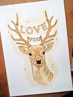 """""""Love you deer"""" - Painting made using Tea and pencil by Scary Goat"""