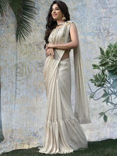 ea41fb2b8e Cream Hue Lycra Saree For Party Function, Latest Designer Party Wear Saree  for women,