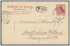 Germany, German Empire, Deutsches Reich 1902, 10 Pfg.-GA-Doppelkarte, von Jonsdorf/Sachsen, nach Amsterdam/NL, von dort nach Sachsen zurückgeleitet (Mi.-Nr.P 68). Price Estimate (8/2016): 15 EUR. Unsold.
