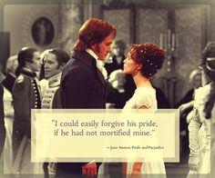 Elizabeth, regarding her pride as opposed to Mr. Darcy's.  From the novel Pride and Prejudice by Jane Austen.