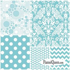 Fat Quarter Bundle - Aqua Flannel Fabric Coordinates by Riley Blake Designs www.flannelqueen.com #flannelqueen #flannel #aqua #rileyblakedesigns