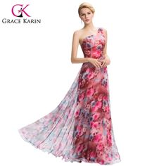 Find More Evening Dresses Information about Grace Karin Floral Print Evening Dresses Chiffon Floor Length One Shoulder Long Evening Gowns Banquet Formal Dinner Dress GK0059,High Quality dress apron,China dresse Suppliers, Cheap dress up design clothes from Grace Karin Collection on Aliexpress.com