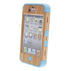 EUR € 6.43 - Madeira Plástica e Silicone Case Voltar Três-em-um para iPhone 4/4S (cores sortidas), Frete Grátis em Todos os Gadgets!