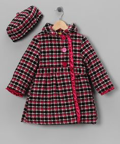 Take a look at this Black & Pink Houndstooth Coat & Hat - Infant, Toddler & Girls by Penelope Mack on #zulily today!