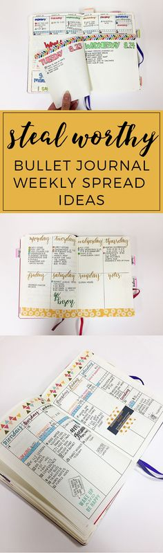 Steal-worthy Bullet Journal Weekly Spread Ideas http://productiveandpretty.com/bullet-journal-weekly-spread-ideas/?utm_campaign=coschedule&utm_source=pinterest&utm_medium=Jen%20%2B%20Liz%20%7C%20Productive%20and%20Pretty&utm_content=Steal-worthy%20Bullet%20Journal%20Weekly%20Spread%20Ideas