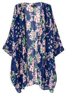 Multicolor Floral Print Dolman Sleeve Loose Chiffon Kimono